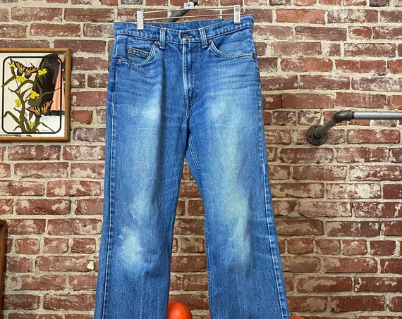 "70s Men's Levi's Aged Strait Leg Jeans 30"" Waist by 31"" Inseam"