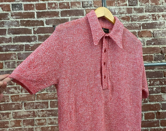 70s Men's Mod Red Knit Short Sleeve Polo