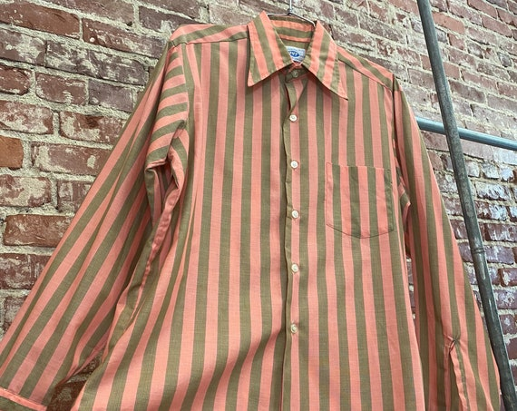 Mens 70s Striped Avocado & Salmon Striped Dagger Collar Button Down Shirt