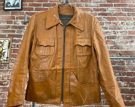 70s Men's Caramel Leather Zip Up Jacket