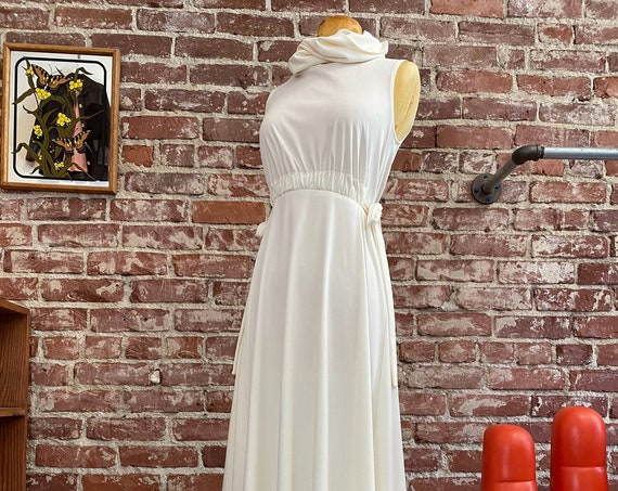 70s Ivory Space Age Cowl Neck Gown
