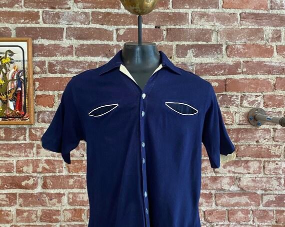 70s Men's Ultra Mod Navy Shirt