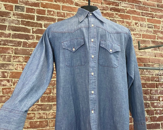 Mens 70s 100% Cotton Chambray Western With Red Top Stitching & Yoke Detail