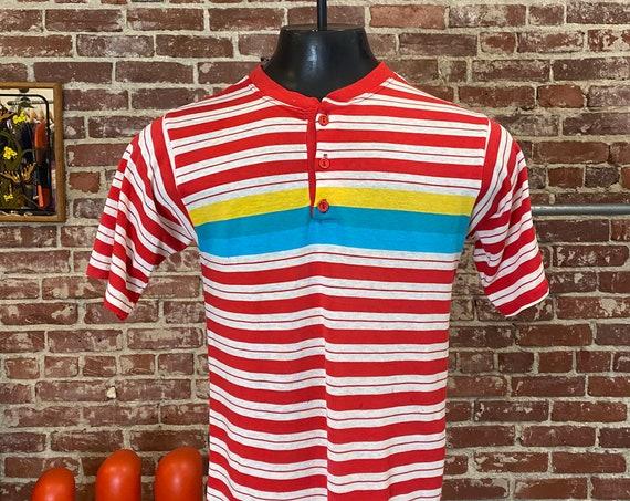 Mens 70s Striped Henley Tee Shirt