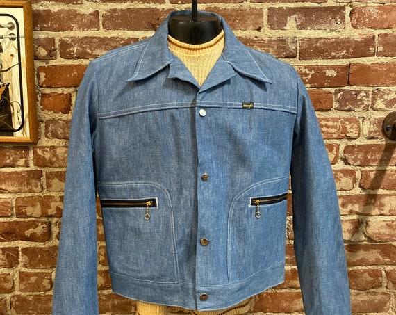 70s Men's Wrangler Snap Button Hoop Ring Zipper Pockets 100% Cotton Denim Jacket