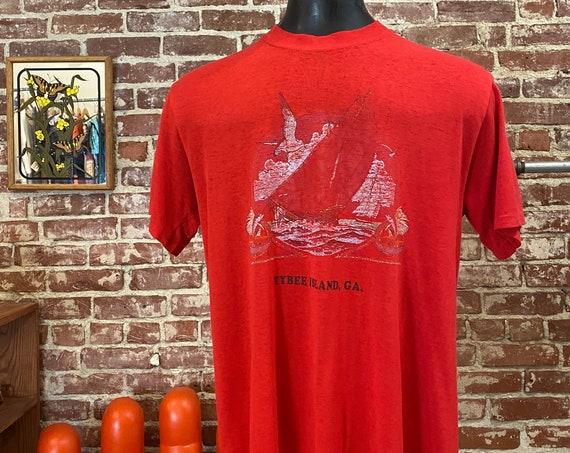 Mens 70s Sailboat At Sea Red Paper Thin Tee Shirt
