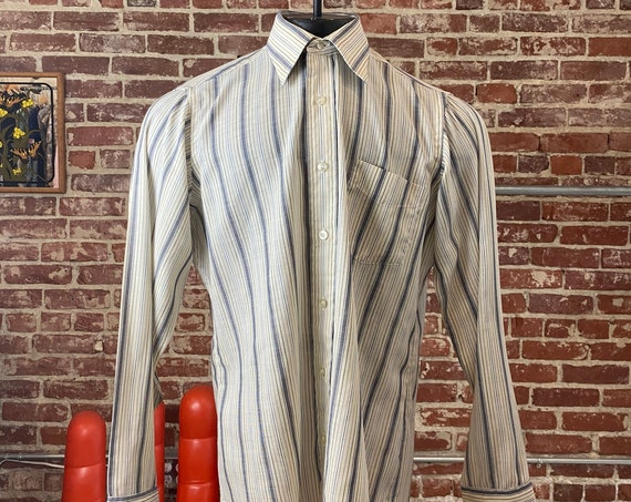 70s Men's Lord & Taylor Striped Button Down Long Tails Shirt