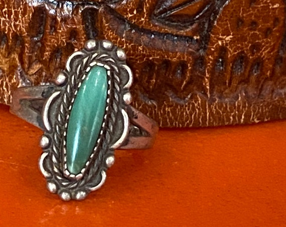70s Green Turquoise Sterling Silver Ring