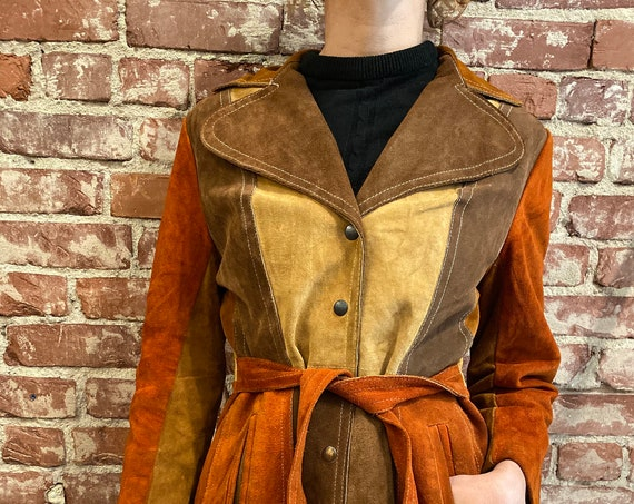 70s Suede Patchwork Color blocked Snap Button Belted Jacket