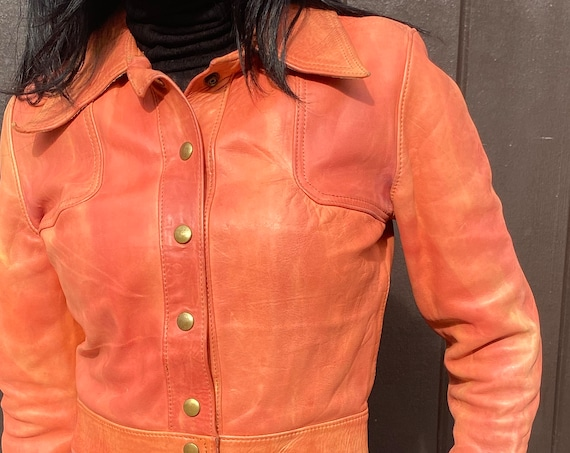 Ultra Rare 70s Salmon Pink Leather Snap Button Crop Jacket