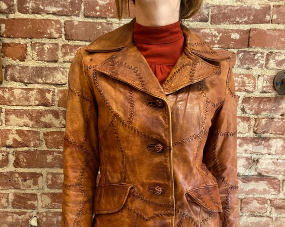 70s Whip Stitch Burnt Caramel Patchwork Leather Jacket