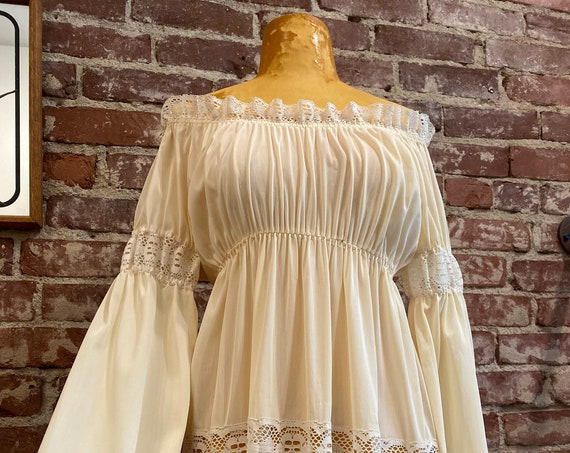70s Ivory Off the Shoulder Peek A Boo Lace Gown