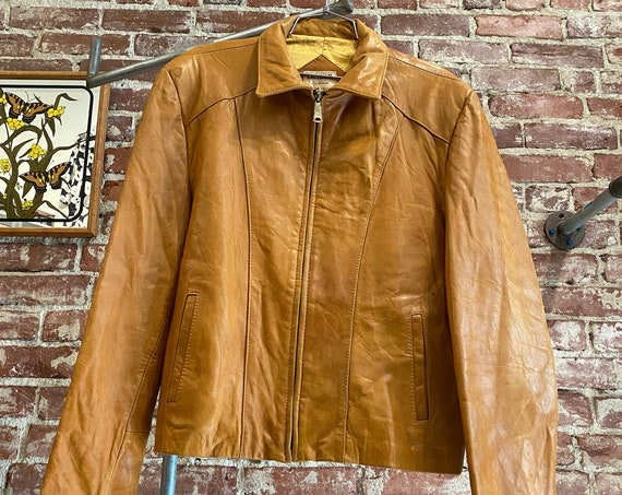 70s Men's Calf Skin Leather Zip Up Jacket