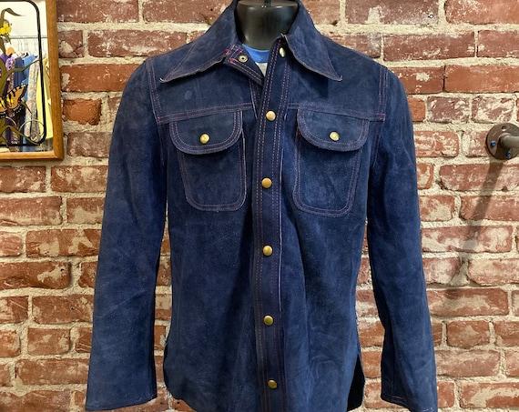 70s Men's Blue Suede Snap Button Jacket