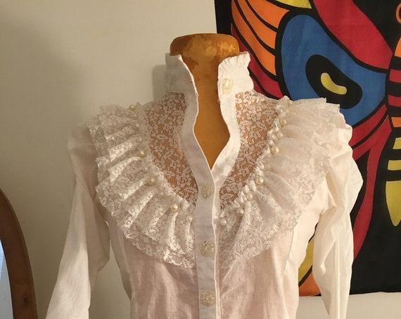 70s Victorian Cotton Blouse
