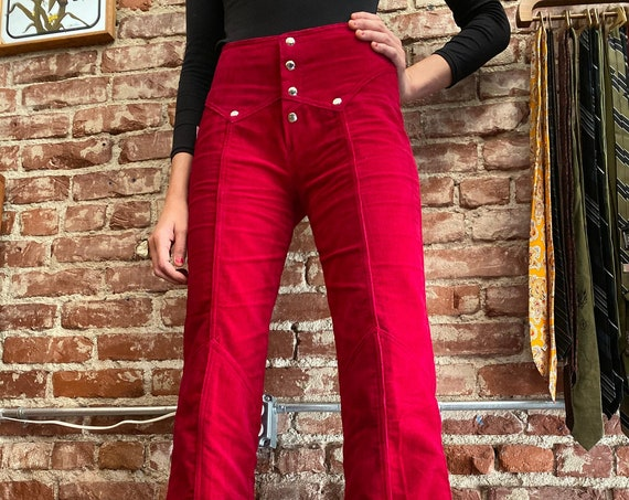 70s Deadstock Ruby Red Corduroy Snap Button Flares