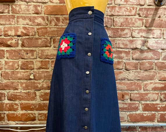 70s Denim Long Skirt Crochet Pockets