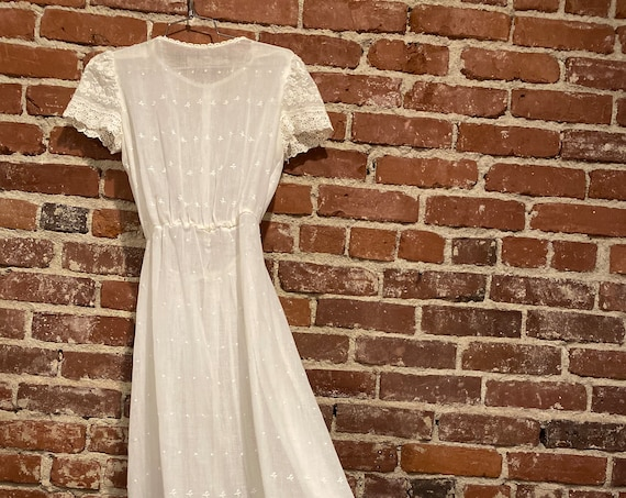 70s Sheer Gauze Cotton Edwardian Gown