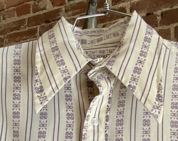 Mens 70s Striped Psychedelic Button Down Shirt