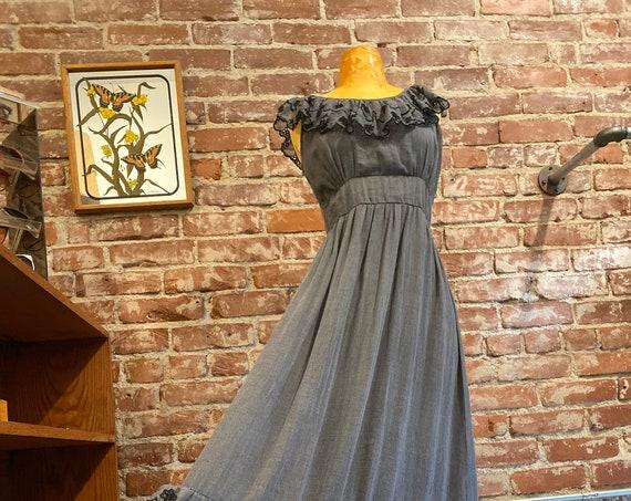 70s Black Victorian Cotton Gown