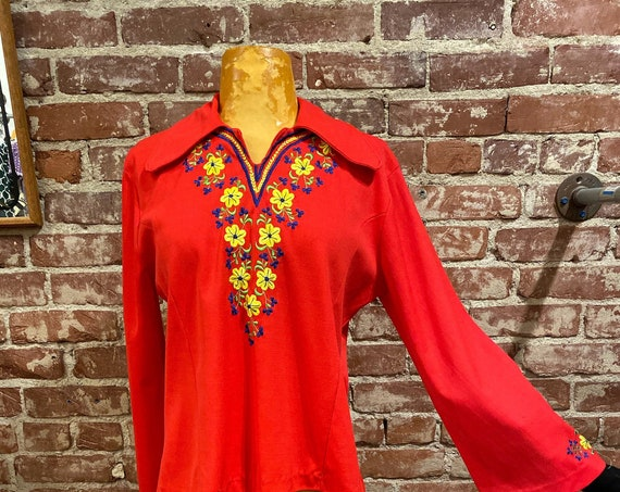 70s Embroidered Belled Sleeve Blouse