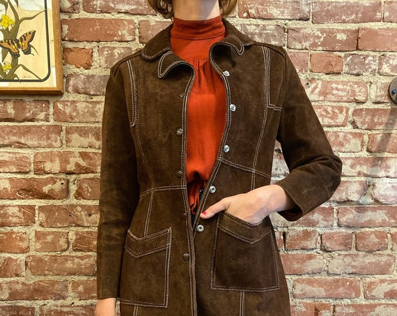 70s Chocolate Suede Snap Button Jacket Fully Lined