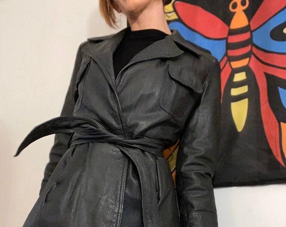 70s Black Leather Belted Jacket