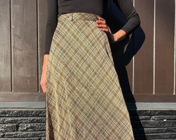 70s Metallic Plaid Hi Waisted A Line Skirt