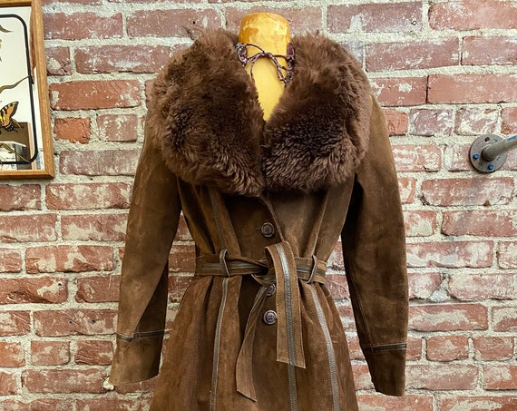 70s Chocolate Suede Shearling and Leather Trimmed Belted Coat