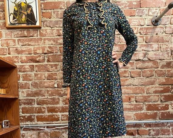 70s Black Victorian Cotton Prairie Dress