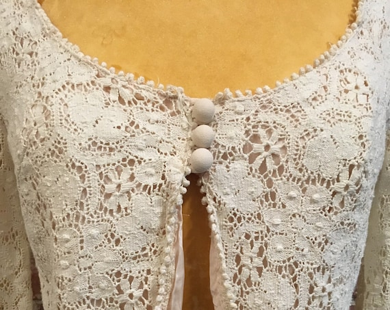 70s Victorian Ivory Cotton Crochet Lace Satin Lined Crop Jacket