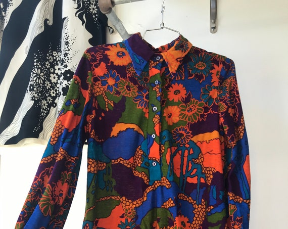 70s Vivid Psychedelic Poet Sleeve Blouse