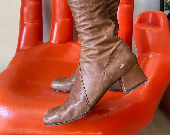 70s Lush Leather Toffee Colored Knee Hi Boots Made in Italy