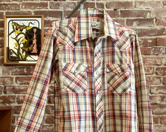 Mens 70s Deadstock Snap Button Western Shirt