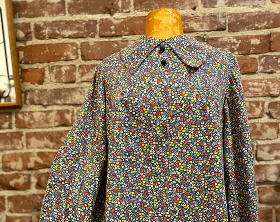 On Layaway. 60s Cotton Trapeze Cut Ballon Sleeve Floral Tunic