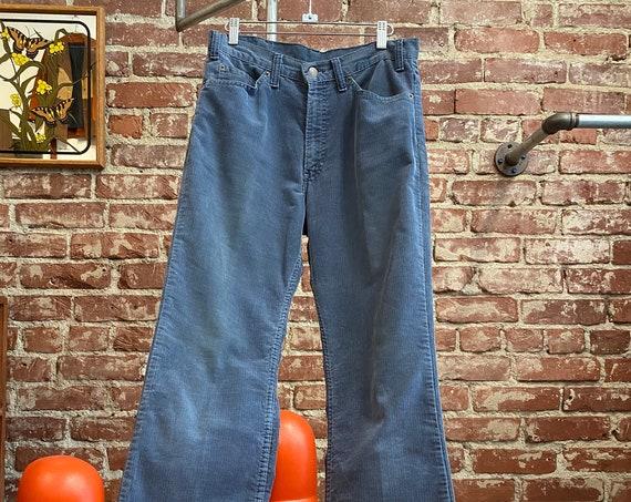 """70s Men's Levi's 517 Corduroy Jeans Rare Dusty Blue 31"""" Waist by 33"""" inseam"""