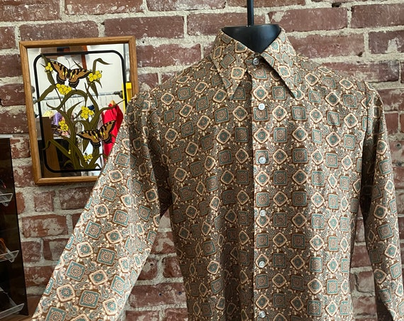 """Mens 70s Kaleidoscope Psychedelic Button Down Shirt by Levis Panatela Top 44"""" Chest"""
