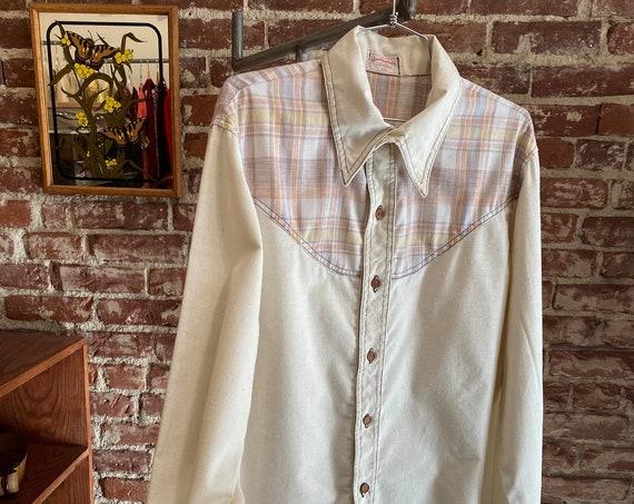 "70s Men's Raw Cotton Wooden Button Shirt 44"" Chest Size Large"