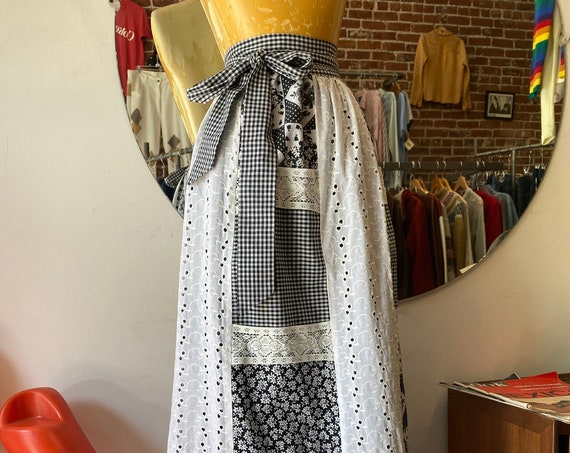70s Black & White Cotton Eyelete Patchwork Prairie Wrap Skirt