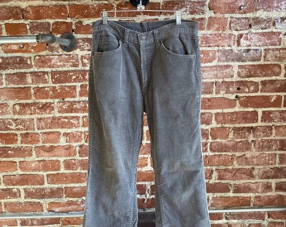 "70s Levis 517 Gray Corduroy Straight Leg Jeans 33"" Waist by 31.5"" Inseam"