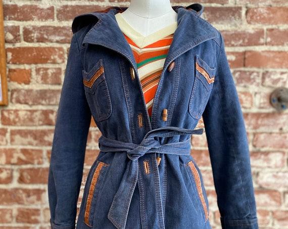 70s Hooded Brushed Denim Belted Jacket