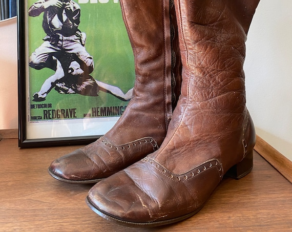 70s Milk Chocolate Leather Tall Wingtip Zip Up Boots Size 8.5