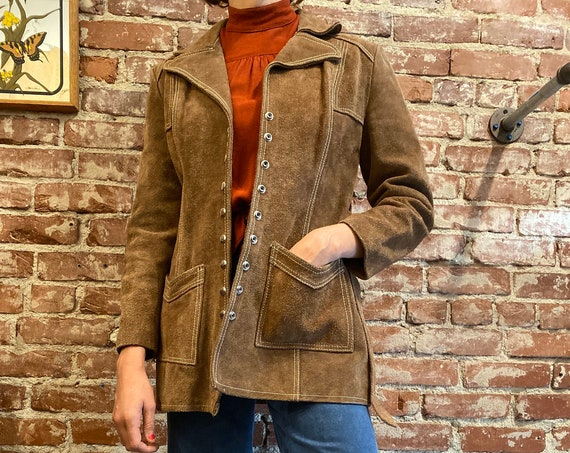 70s Suede Snap Button Belted  Jacket Fully Lined