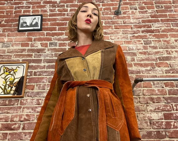 70s Suede Patchwork Color blocked Snap Button Belted Jacket Size Medium