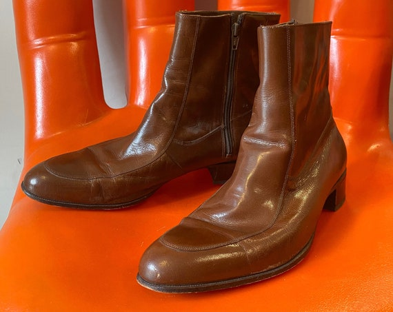 Mens 70s Florsheim Chocolate Leather Zip Up Boots Made in Spain Size 12 C