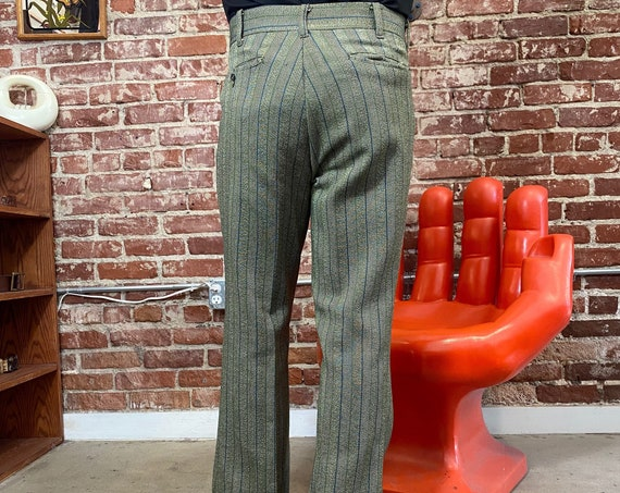 """70s Mens Mod Striped Flares Pants 36"""" Waist by 31.4"""" Inseam"""