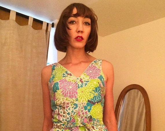 60s Ribbed Cotton Psychedelic Bathing Suit Romper