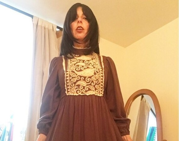 Late Sixties Paisley Heavily Embroidered Cotton Poet Sleeve Dress Size Extra Small Petite