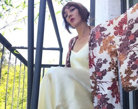 70s Gunne Sax Ivory Satin Slip Dress