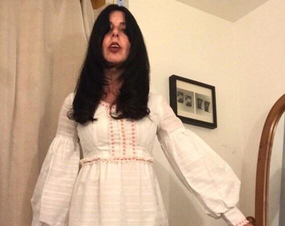 70s Crisp White Cotton Giant Poet Sleeve Mini Dress Size Extra Small